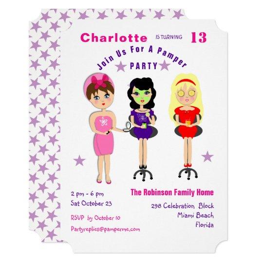 Super Cute Pamper Party Girls  Birthday Invites