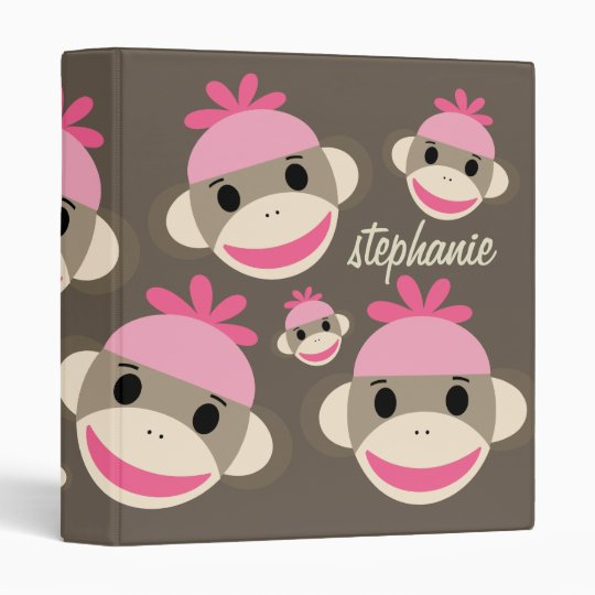 Super Cute Personalized Pink Sock Monkey Binder