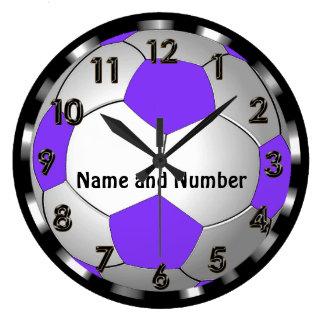 Super Cute Personalized Soccer Clock in Purple