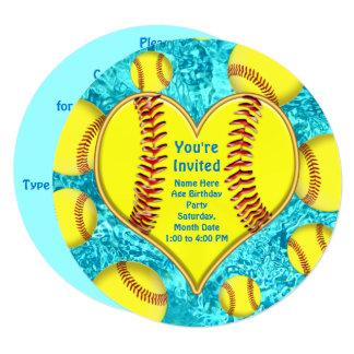 Super Cute Personalized Softball Invitations