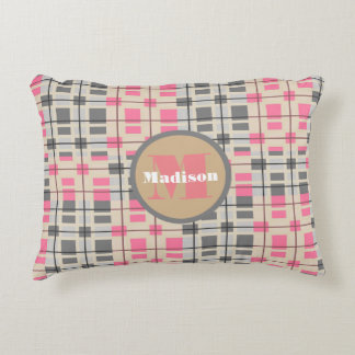 Super Cute Pink Contemporary w/Monogram Accent Pillow
