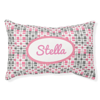 Super Cute Pink Contemporary w/Name Pet Bed