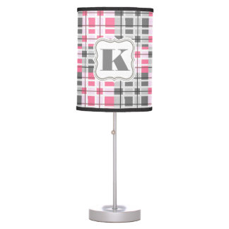 Super Cute Pink & Gray Abstract Plaid Desk Lamp