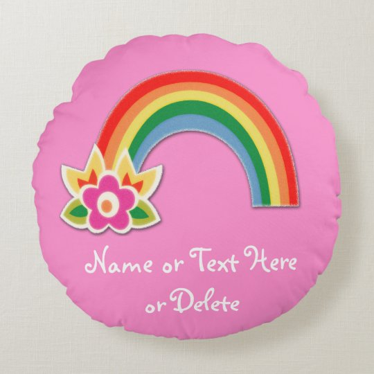 Super Cute Rainbow Pillow in Your Text and Colours