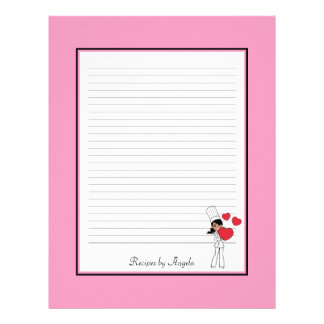 Super Cute Recipe Pages Lined Customized Letterhead