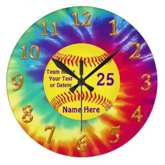 Super Cute Softball Clock Personalized 3 Text Box