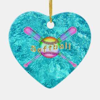 Super Cute Softball Party Favors for Girls Ceramic Ornament