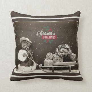 Super Cute Vintage Christmas Cat Throw Pillow
