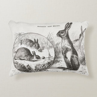 Super cute vintage rabbit bunny reversible pillow! decorative pillow