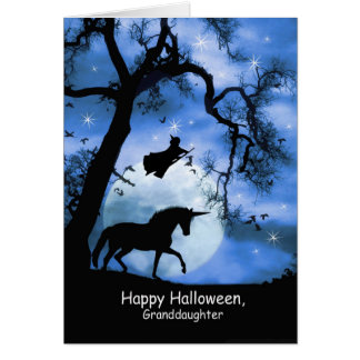 Super Cute Witch and Unicorn Halloween Card