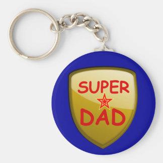 Super Dad Gold Shield Keychains