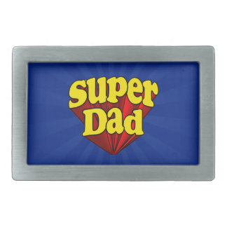 Super Dad Red Yellow Blue Father's Day Superhero Rectangular Belt Buckle