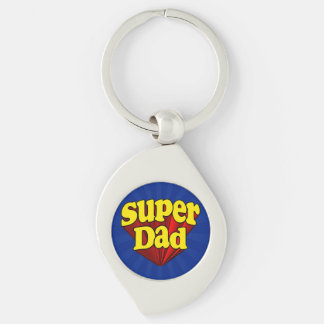 Super Dad, Superhero Red/Yellow/Blue Father's Day Silver-Colored Swirl Keychain