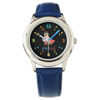 Super Dad With A Cute Hero Character Kids Watch