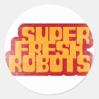 super fresh robots classic round sticker