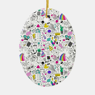 Super Fun Black White Rainbow 80s Sketch Cartoon Ceramic Oval Ornament