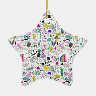 Super Fun Black White Rainbow 80s Sketch Cartoon Ceramic Star Ornament