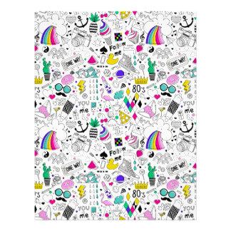 Super Fun Black White Rainbow 80s Sketch Cartoon Custom Letterhead