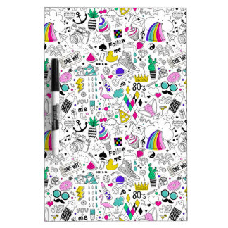 Super Fun Black White Rainbow 80s Sketch Cartoon Dry-Erase Whiteboards