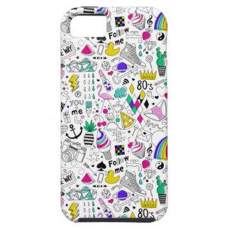 Super Fun Black White Rainbow 80s Sketch Cartoon iPhone 5 Cases