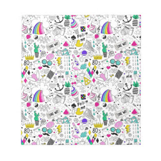 Super Fun Black White Rainbow 80s Sketch Cartoon Notepad
