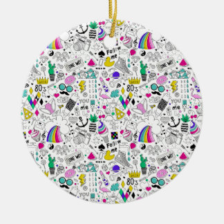 Super Fun Black White Rainbow 80s Sketch Cartoon Round Ceramic Ornament