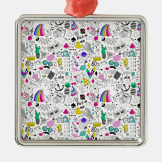 Super Fun Black White Rainbow 80s Sketch Cartoon Silver-Colored Square Ornament