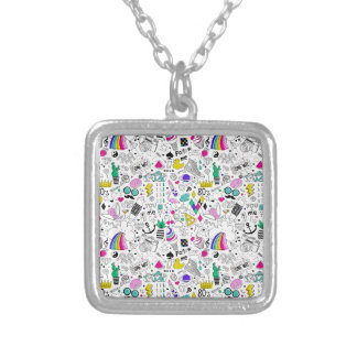 Super Fun Black White Rainbow 80s Sketch Cartoon Silver Plated Necklace