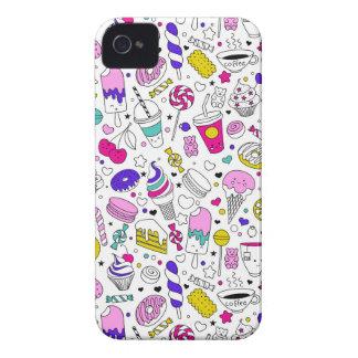 Super Fun Black White Rainbow Sweet Sketch Cartoon iPhone 4 Cases