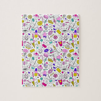 Super Fun Black White Rainbow Sweet Sketch Cartoon Jigsaw Puzzle
