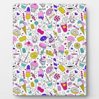 Super Fun Black White Rainbow Sweet Sketch Cartoon Plaque