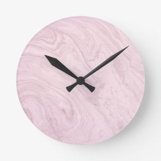 Super Girly PINK Marble Abstract Art Swirl! Round Clock