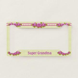 Super Grandma Vintage Plaid Custom License Plate Frame