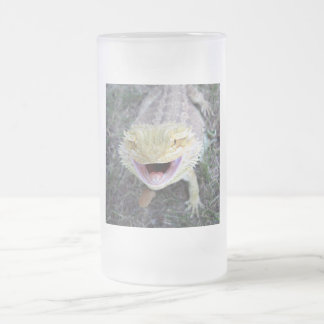 Super Happy Bearded Dragon Frosted Glass Beer Mug