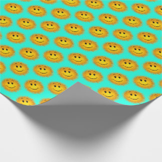 Super Happy Fuzzy Smiley Faces Aqua Gift Wrap