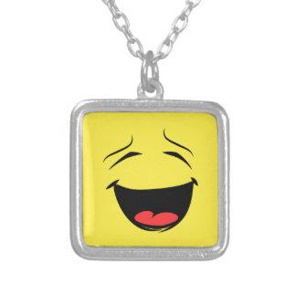 Super Happy Smiley Face Emoji Silver Plated Necklace