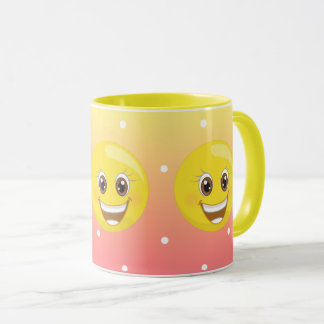 Super Happy Yellow Emoji Dots Mug
