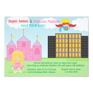 "Super Hero and Princess Twins Joint Birthday Party 5"" X 7"" Invitation Card"