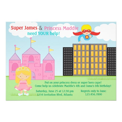 Super Hero and Princess Twins Joint Birthday Party Custom Announcements