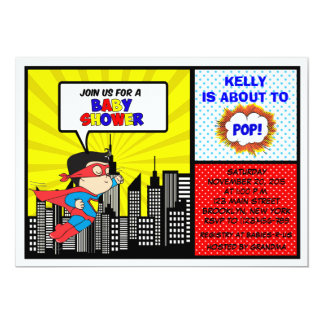 Super Hero Baby Shower Invitations | Comic Book