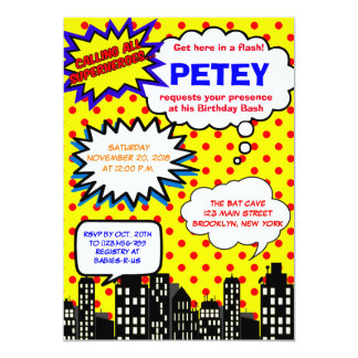 Super Hero Birthday Invitations | Comic Book
