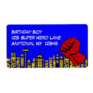 Super Hero Birthday Party Large Labels