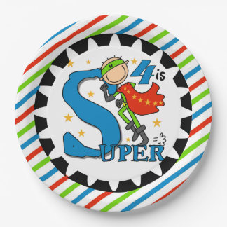 Super Hero Boy 4th Birthday Paper Plates 9 Inch Paper Plate
