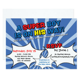 Super Hero Boy Baby Shower Invitation