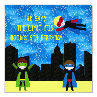 Super Hero Boys Bithday Party Card