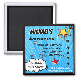 Super Hero Comic Book Adoption, Family Gift Magnet