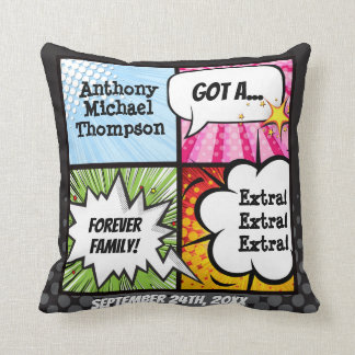 Super Hero Comic Book Adoption, Family Gift Throw Pillow