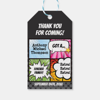Super Hero Comic Book Adoption, Party Favor Gift Tags