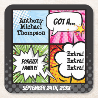 Super Hero Comic Book Adoption, Party Supplies Square Paper Coaster