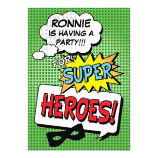 "Super Hero Comic Strip Mask Custom Kids Birthday 5"" X 7"" Invitation Card"